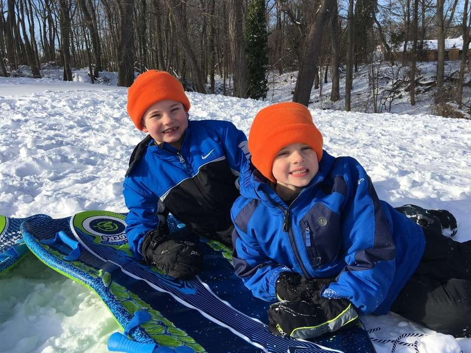 Let's go sledding!!! Ty (age 8) and Cade
