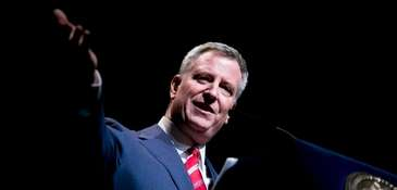 New York City Mayor Bill de Blasio, shown