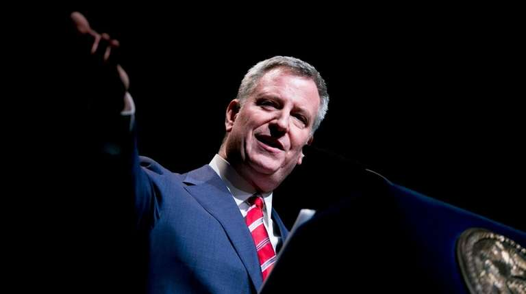 New York City Mayor Bill de Blasio, shown