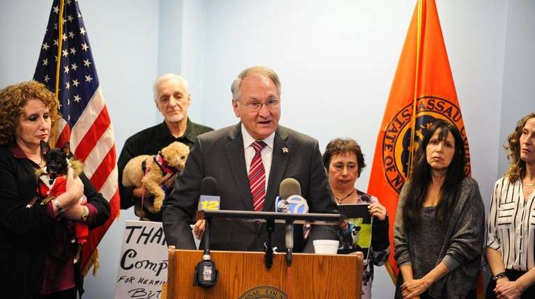 Nassau County Comptroller George Maragos speaks during a