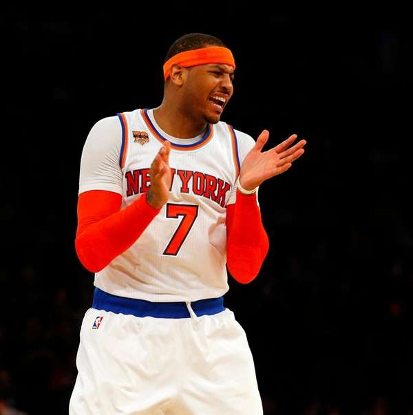 Carmelo Anthony reacts against the San Antonio Spurs