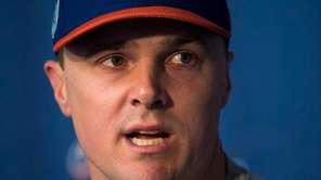 Mets outfielder Jay Bruce talks to reporters on Thursday,