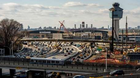 Traffic builds around LaGuardia Airport in Queens, Feb.