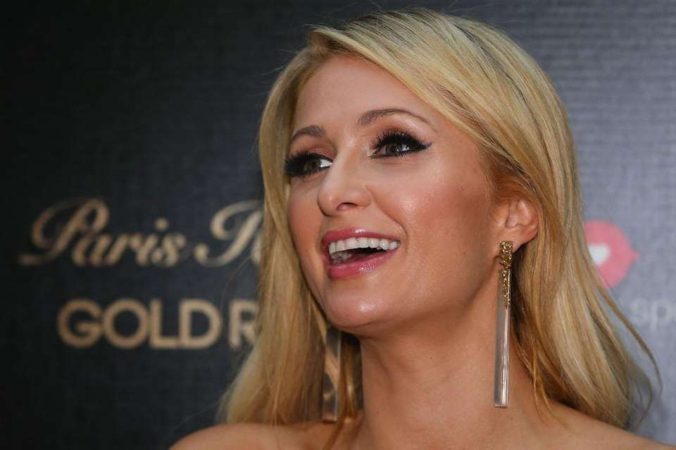 Paris Hilton looks on during a Q&A with