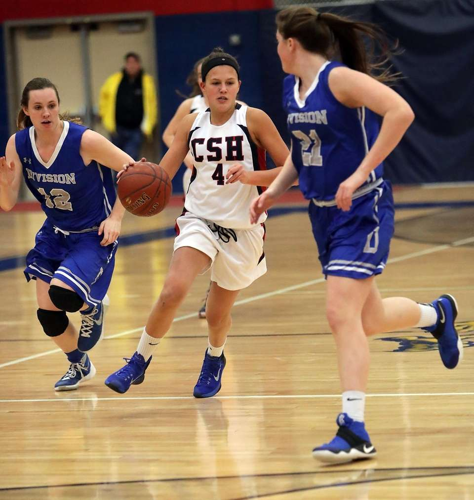 Cold Spring Harbor's Caroline DeBellis (4) drives up