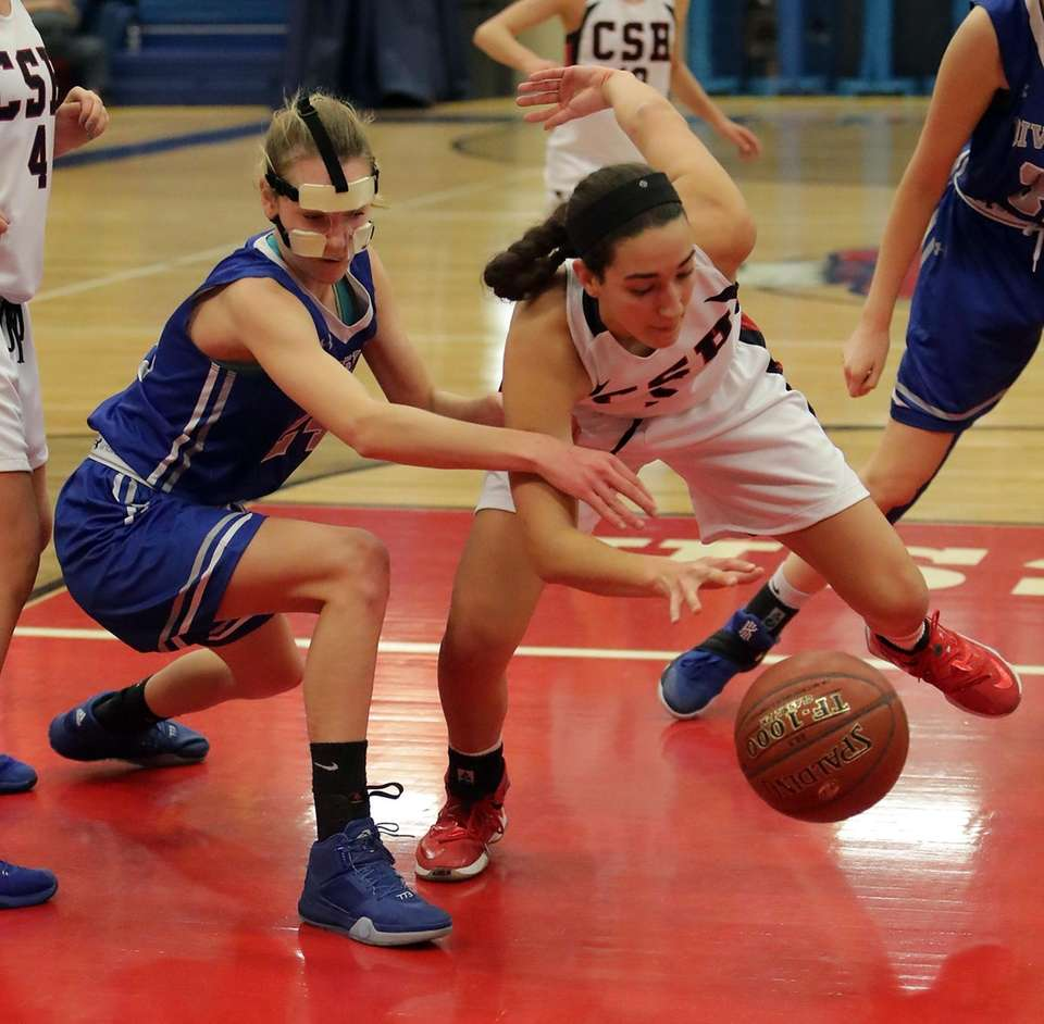Cold Spring Harbor's Sophia Taglich (5) and Division's