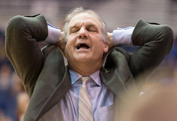 Hofstra Pride head coach Joe Mihalich reacts to
