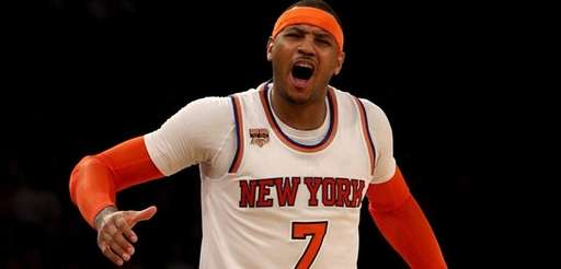 Carmelo Anthonyof the New York Knicks reacts after