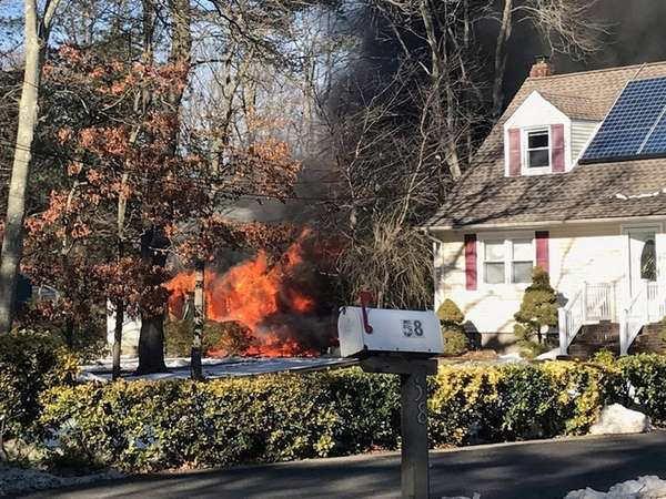 A house fire broke out in Huntington Station