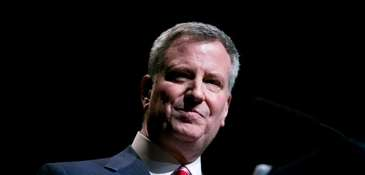 New York Mayor Bill de Blasio, seen as