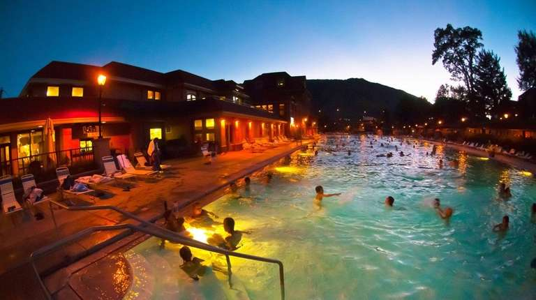 Mineral pools at twilight in Glenwood Springs, Colo.