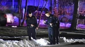 Suffolk County police officers at the scene of