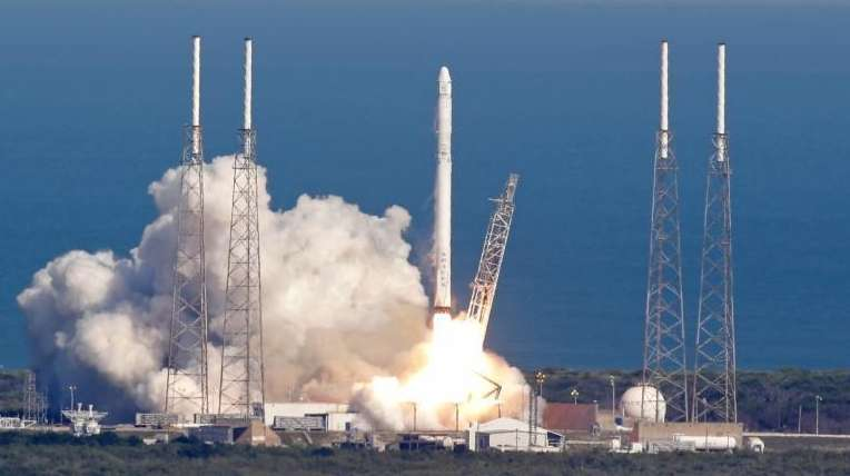The SpaceX Falcon 9 rocket lifts off from