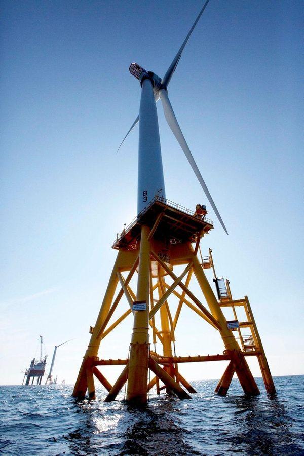 One of Deepwater Wind's turbines seen Aug. 15,