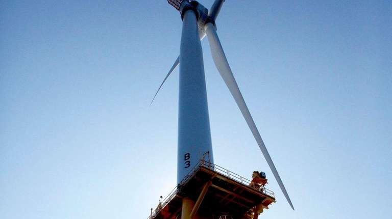 One of Deepwater Wind's turbines seen Aug. 15,