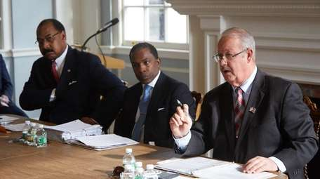 Former Freeport Mayor Andrew Hardwick, left, Stephen Drummond