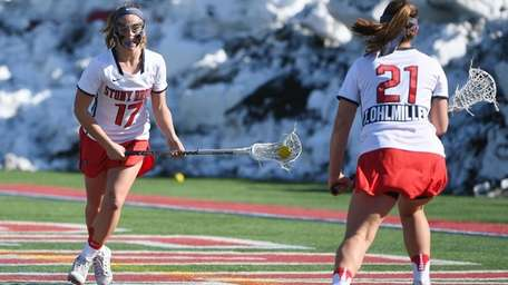 Stony Brook attacker Kylie Ohlmiller works the ball
