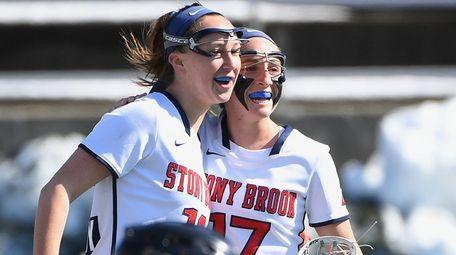 Stony Brook attacker Courtney Murphy, left, and attacker