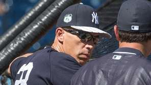 New York Yankees manager Joe Girardi looks on during
