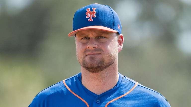Lucas Duda stretching on Monday Feb. 20, 2017