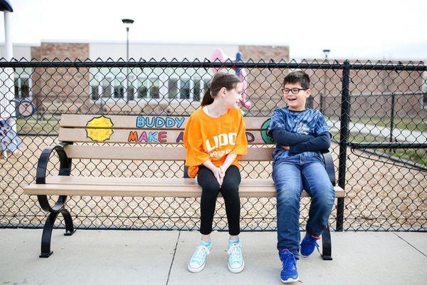 Fifth-grade peer mediators Lauren Clune, 11, left, and
