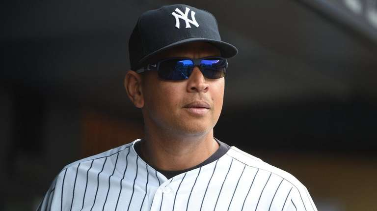 Alex Rodriguez, shown in the dugout before a