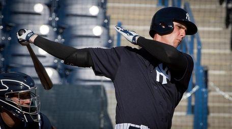 New York Yankees first baseman Greg Bird hits