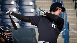 New York Yankees first baseman Greg Bird hits