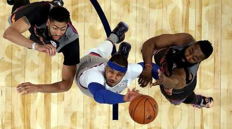 Carmelo Anthony of the New York Knicks takes