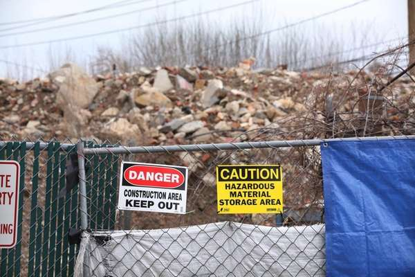 Mounds of debris are piled high on a