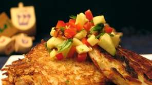Apple salsa topping on potato latkes