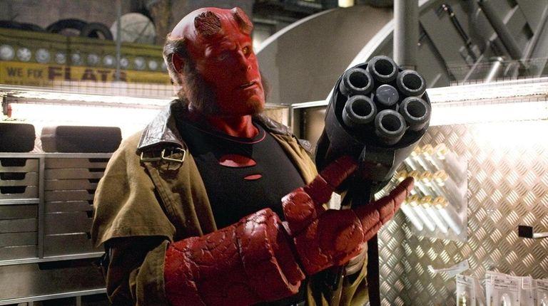 Ron Perlman as Hellboy. Director Guillermo del Toro