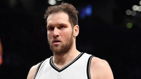 Brooklyn Nets guard Bojan Bogdanovic looks on against