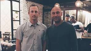 Pitcher James Kaprielian with Derek Jeter at a