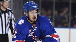 New York Rangers center Mika Zibanejad skates with