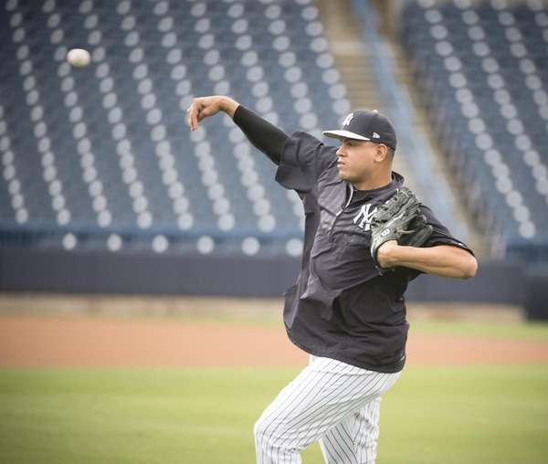 New York Yankees' Dellin Betances warming up his