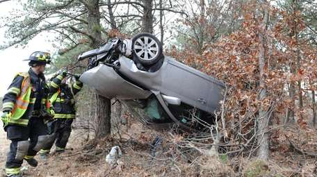 Brookhaven firefighters respond to a crash on the