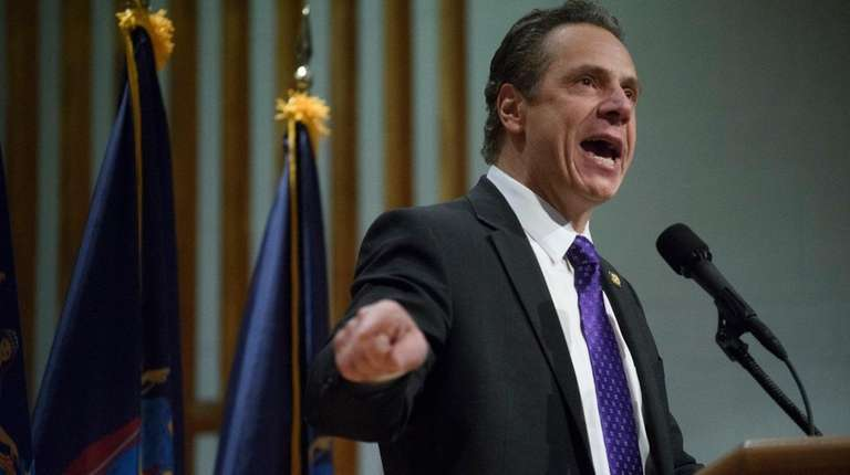 Gov. Andrew M. Cuomo delivers remarks during a