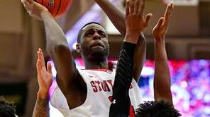 Roland Nyama #24 of the Stony Brook Seawolves