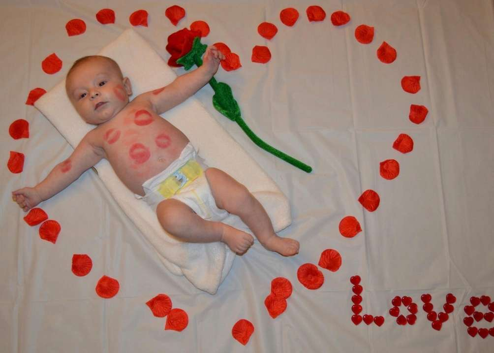 Dylan's first Valentine's Day. 2 1/2 months old