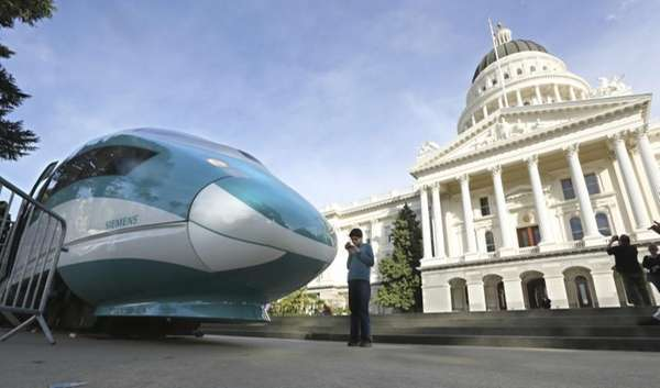 A full-scale mock-up of a high-speed train is