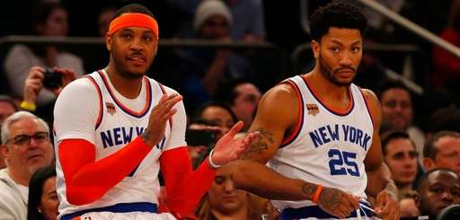 Carmelo Anthony, left,and Derrick Rose of the New