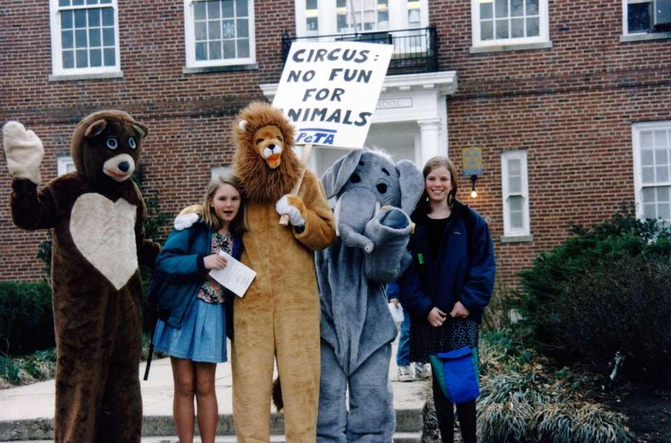 Animal mascot costumes protest circus use of animals