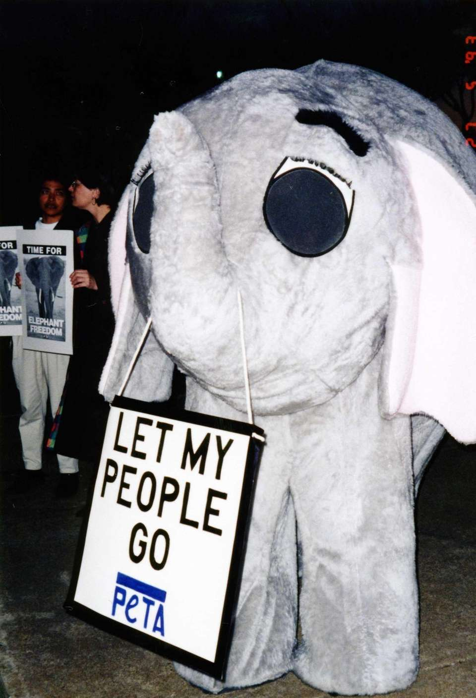 Elephant mascot costume protests circus use of elephants
