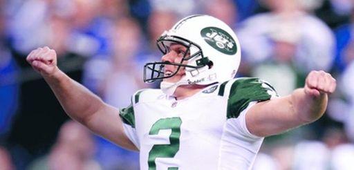 Nick Folkof the New York Jets celebrates after