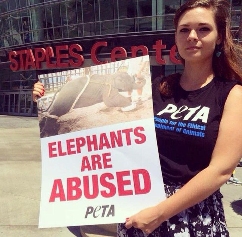 LA resident Mel M protests Ringling Bros. Circus