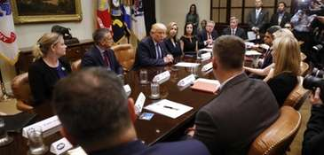 President Donald Trump speaks during a meeting on