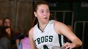 Abigail Selhon #4 of Carle Place dribbles downcourt