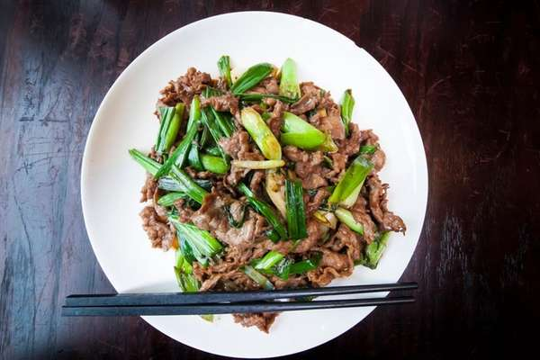 Lamb with scallions from Beijing House in Syosset