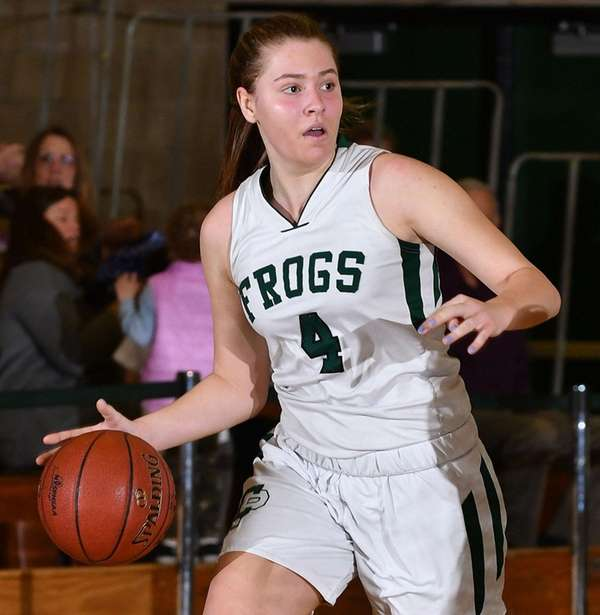 Abigail Selhon of Carle Place dribbles downcourt during